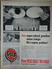 1955 New Super Refined Gasoline Gulf No Nox Burn Clean Original Ad
