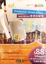 Hong Kong Tourist Prepaid SIM Card  4G 1.5GB ( 5 Day Pass )