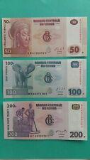 CONGO 50 100 200 FRANCS UNC NEUF 2007 2013 AFRIQUE