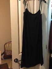 BCBG Black Side Split Spaghetti Strap DRESS Sz Large