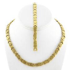 "Womens Hugs And Kisses Gold Fn Starburst  Necklace And Bracelet Set 18"""
