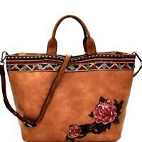 Sequin Embellished Flower Patch Bohemian Tote Handbag