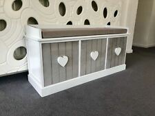 Grey White Vintage Wooden Storage Unit Bench Seat Shabby Chic 3 Drawers Cushion
