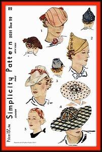 HAT Fascinator Cap DERBY Unique Simplicity 2031 Vintage 1930's Sewing Pattern