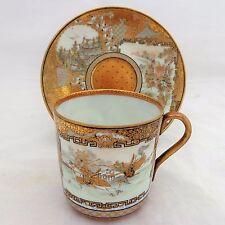 Antique Japanese Meiji Kutani Porcelain Gold Brocade Cup & Saucer Shimizu Bizan