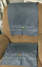 Vintage Martex Embroidered Pillowcase Pair Blue Standard Size