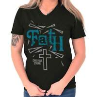 Jesus Christ Faith Christian Shirt God Savior Hope Love Gift V-Neck T Shirt