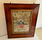 Antique 19th Century Needlepoint Tapestry in Period Frame, Estate Find