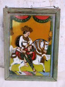 """Antique Reverse Glass Paintings Of India Horse Mounted King & Queen Wall Frame""""F"""