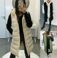 LADIES WOMENS HOODED LONG LINE PUFFER GILET JACKET PADDED TOP BODY WARMER 8-14