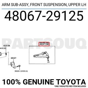 4806729125 Genuine Toyota ARM SUB-ASSY, FRONT SUSPENSION, UPPER LH 48067-29125
