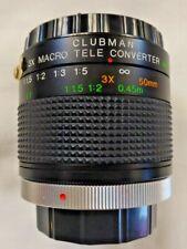 3 X Macro Tele Convertidor Clubman MC FD para caber Canon FD Con Estuche ex condición