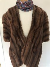 Vintage Real Mink Fur Stole (Cape, Wrap) Deep Brown Howlands Bridgeport