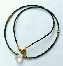 Black Glass Tiny Seed Bead Necklace with Natural Rose Quartz, Malachite & Garnet