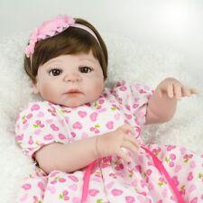22'' Full Vinyl Silicone Reborn Baby Dolls Newborn Babies Girl Doll Toys+Dress