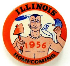 "1956 ILLINOIS HOMECOMING football 2.25"" pinback button a3"