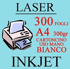 Carta Cartoncino A4 300 Fogli Bianco Uso Mano 300 gr. Stampante Laser Inkjet