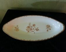 """Hand Painted Gold Roses and Gold Trim 14"""" Oval Serving Bowl Made in France"""