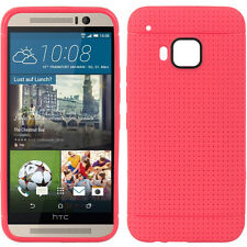 For HTC ONE M9 - HARD TPU GUMMY RUBBER PHONE CASE COVER HOT PINK DOTTED SKIN