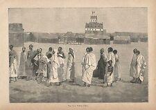 A2826 Alula - Veduta animata - Xilografia - Stampa Antica del 1895 - Engraving