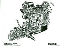 Photo de presse ancienne schéma moteur et boite de voiture automobile Renault 6