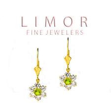 1.30CT Womens Stylish Peridot & White Sapphire Flower Leverback Earrings 14K YG