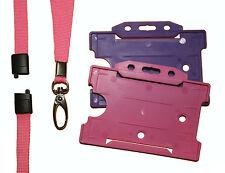 Rosa Breakaway Cordón Con 2 X identificación Portatarjetas-Pink & Purple