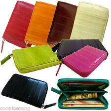 Genuine Eel Skin Coin Purse, Credit Card Zippered Wallet