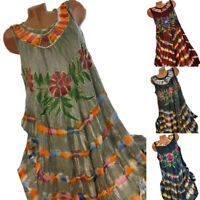 Women Loose Floral Gyspy Sleeveless Swing Dress BOHO Summer Casual Sundress New