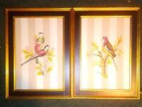 Vintage Original Oil Painting Parrots Pair Parakeets Birds Estate Custom Art