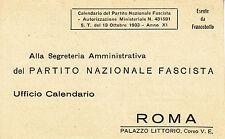Cartolina - Segreteria Amministrativa del P.N.F. ufficio calendari Roma