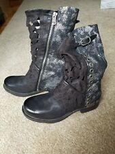 A.S.98 NIB Handmade Italian Perforated Boots EUR 36/US 5.5-6 black/silver