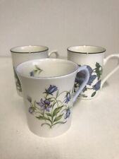 """More details for 2x roy kirkham """"botanical flowers"""" blue poppy mugs 1x rosina china bluebell mug"""