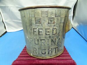 "Vintage Advertising Puina Steel 1 gal. Dry Measuring Bucket ""Feed Purina Right"""