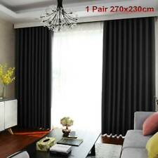 100 Blockout Curtain 270x230cm PINCH PLEAT Blackout High Level Fabric Black