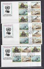 UNO Genf 1993 FDCs mit 16 Zusammendrucke von MiNr. 227-230  Gefährdete Arten