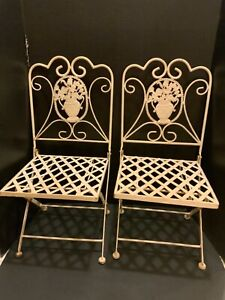 Vintage Child's All Metal Folding Chairs Set of 2 Mid-Century Flower Victorian?