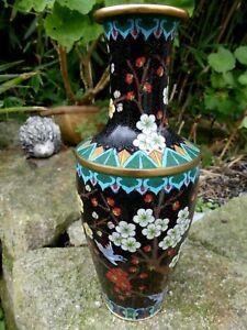 Chine vase en Bronze Cloisonné vers 1950 décor floral très bon état 26,5cm haut