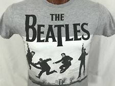 The Beatles Love Album Jumping Photo Gray Graphic T Shirt Cotton Blend S Small