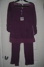 New JESSICA SIMPSON Comfy Stretch Lounge Pajama Set Pants Medium Purple NWT