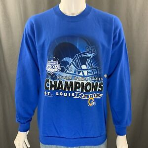 St. Louis Rams Super Bowl 2000 XXXIV Champions Graphic Blue Sweatshirt Medium