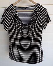 Basque Petite Women's Black & Beige Stripe Stretch Top - Size 12