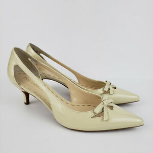 Enzo Angiolini 8M Julep Cream Beige Patent Leather Pumps Bow Cutouts Heels