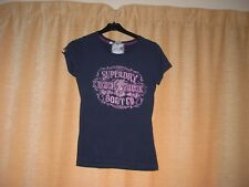 LADIES NAVY BLUE SHORT SLEEVE T-SHIRT BY SUOERDRY SIZE S