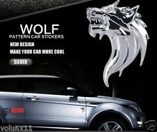 Wolf Silver 3D Adhesive Car Sticker Decal Emblem Badge Alloy 80mm x 60mm x 6mm