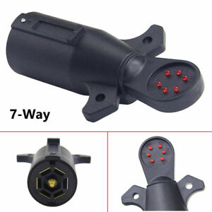 7 Pin Blade Trailer Light Wiring Circuit Tester Round Adapter Connector For Boat