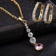 Luxury 18k Gold Plated Crystal Jewelry Set Pendant Drop Necklace Stud Earrings