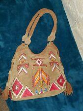 Free People Aztec Design Suede Bag Shoulder Bag Tote Soft Brown Fringe Tassels L