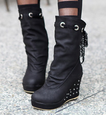 Punk Women High Heels Lace Up Wedge Platform Mid-calf Boots Cocktail Party Shoes