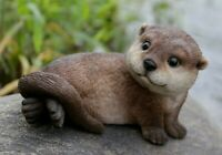 NEW Baby Otter Laying Back Adorable Cute Figurine - Statue Home / Garden
